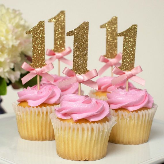 12 First Birthday Pink & Gold Cupcake by GlitzandBowsbyJackie