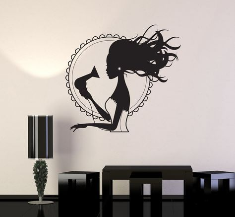 Wall Decal Beauty Salon Hair Dryer Stylist Woman Barbershop Vinyl Mural (ig2866)