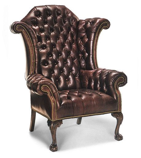 Hancock And Moore Tufted Leather Sofa: George III Tufted Wing Chair Manufactured By Hancock