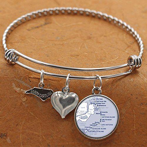 Outer Banks North Carolina Map Bracelet City State NC Charm Bangle Bracelet Vintage Map Jewelry Stainless Steel Charm Bracelet
