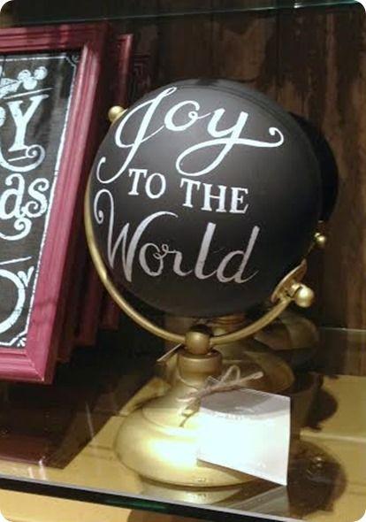Pottery Barn Joy to the World Globe- DIY: great idea to repurpose old globe