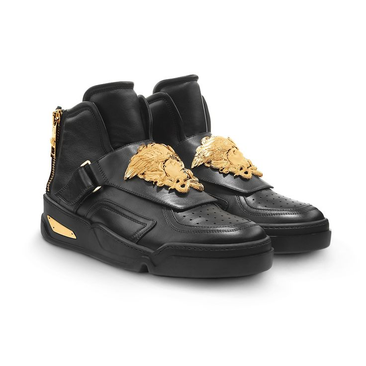 Hightop Medusa buckle sneakers from Versace Mens Collection These high top  sneakers are a strong style signature They are rich in Versace details  such