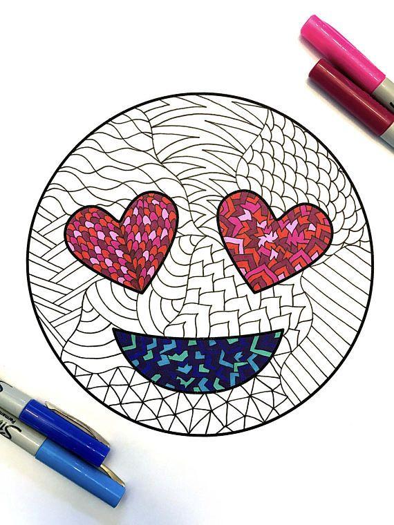 Love Emoji  PDF Zentangle Coloring Page