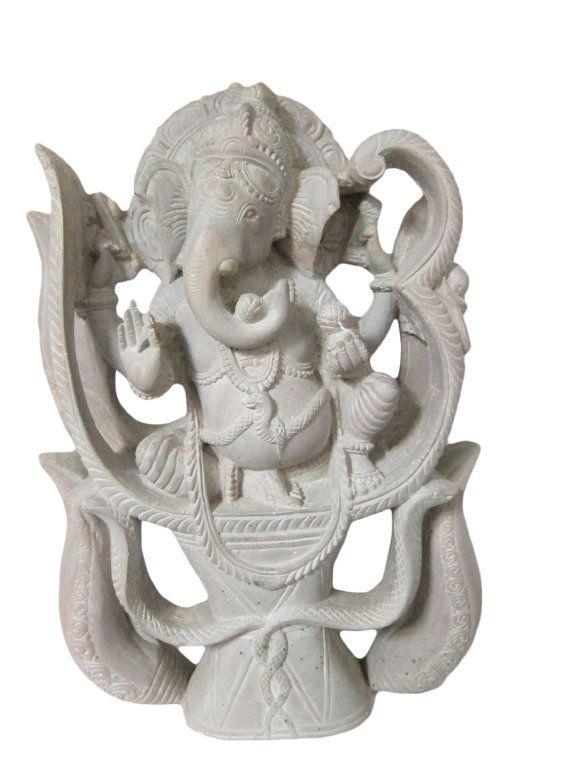 Hindu Ganesh Statue Good Luck OM Ganesha Sculpture by MOGULGALLERY