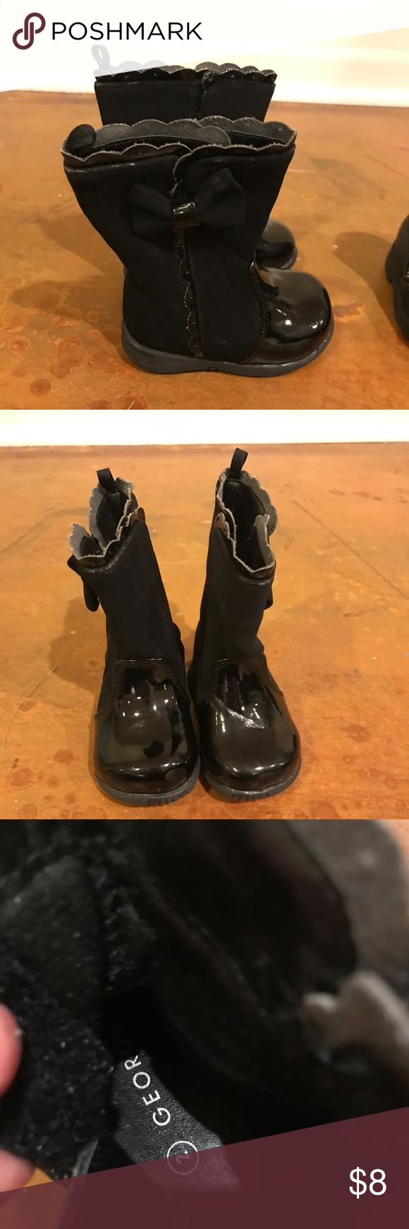 George Size 2 toddler girl black boots Black baby or toddler girls boots for sale! Size 2, in good preowned condition! Have Velcro on the sides and a cute bow on top! See my other baby and maternity items for sale, and bundle for savings! George Shoes Boots