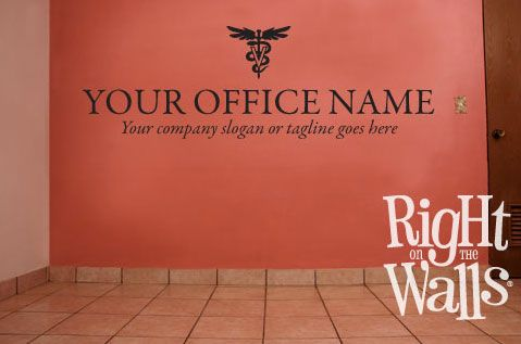 vinyl wall decal stickers for office | this vet name and tagline wall decal is highly professional the decal