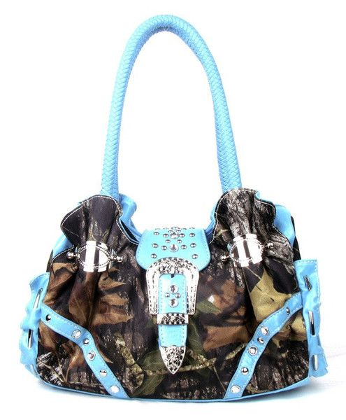 Western Buckle Blue Camouflage Handbag. Love the blue!!!!1
