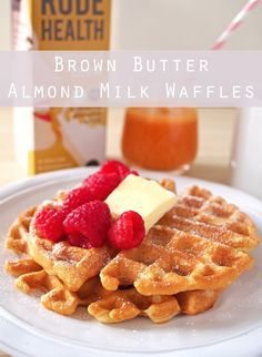Brown Butter Almond Milk Waffles - with the rich brown butter, nutty almond milk, light and fluffy inside and perfectly crisp exterior, you'll want to use just a touch of maple syrup and keep the toppings simple!
