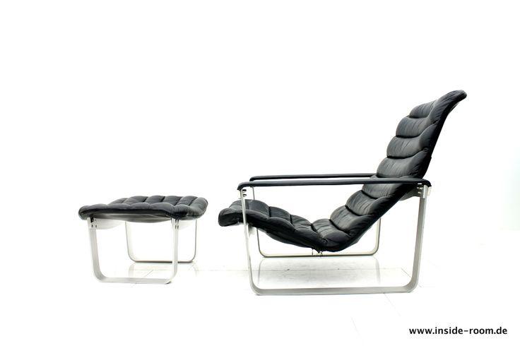 Ilmari Lappalainen; 'Pulkka' Lounge Chair & Ottoman for Asko, 1963.