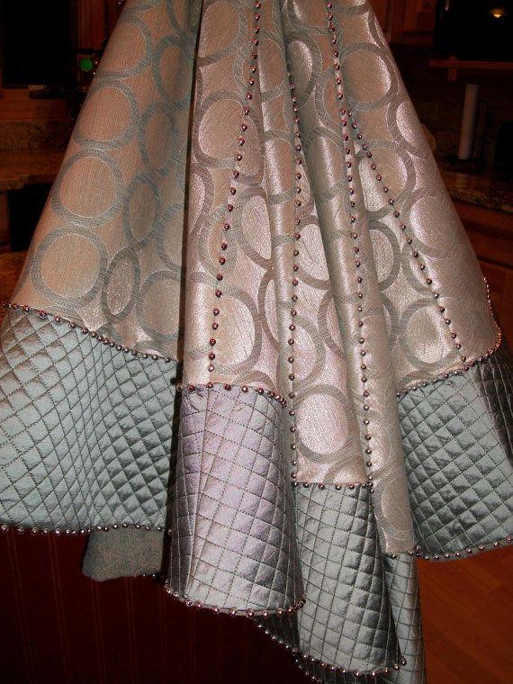 Metallic Silver And Blue Christmas Tree Skirt