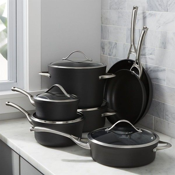 Crate & Barrel Calphalon Contemporary Non-Stick 12-Piece Cookware Set... (3.345 BRL) ❤ liked on Polyvore featuring home, kitchen & dining, cookware, non-stick cookware, calphalon cookware, calphalon, non-stick cookware set and hard anodized cookware