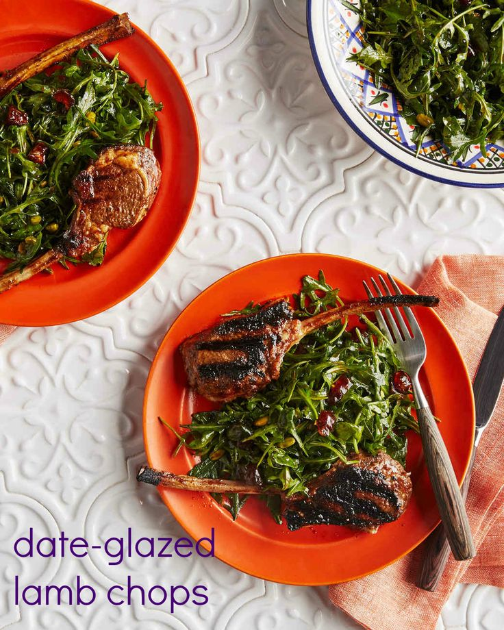 "An Arabic spice blend and date molasses give these grilled lamb chops a unique flavor. It's paired with an arugula-pistachio salad, a recipe that also comes from ""Martha Stewart's Cooking School: Arabian Gulf."""