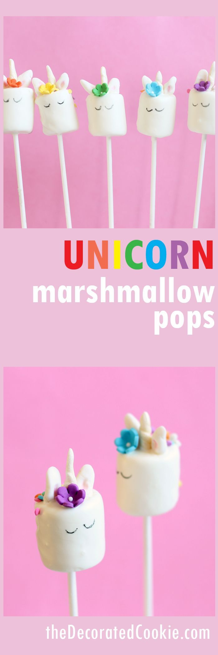 DIY unicorn marshmallow pops