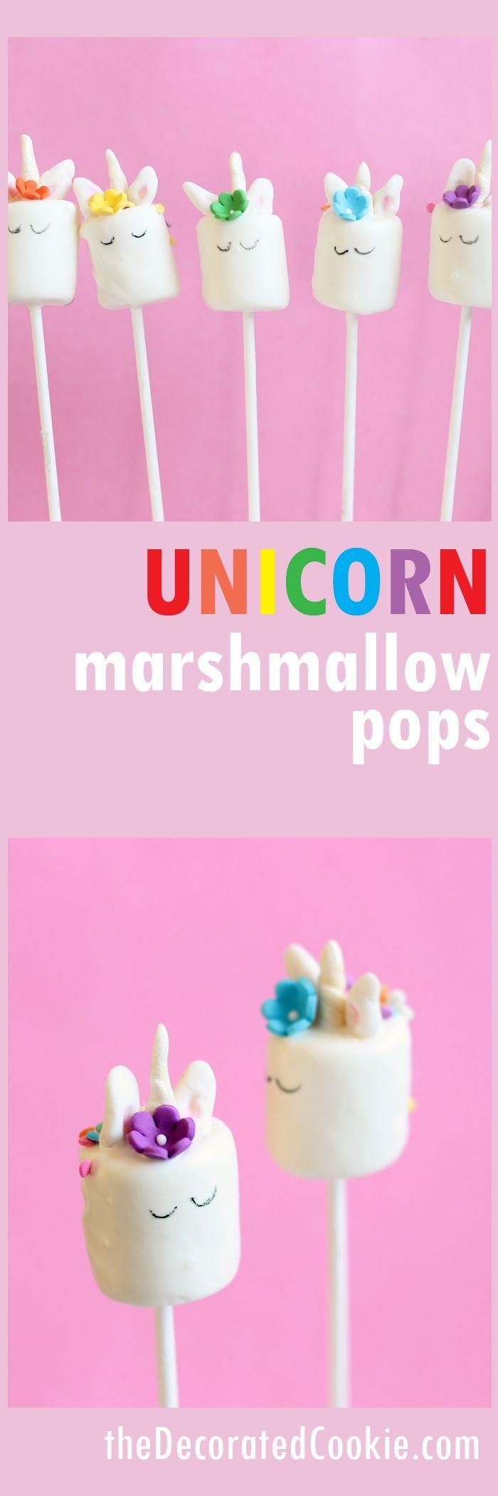 DIY unicorn marshmallow pops