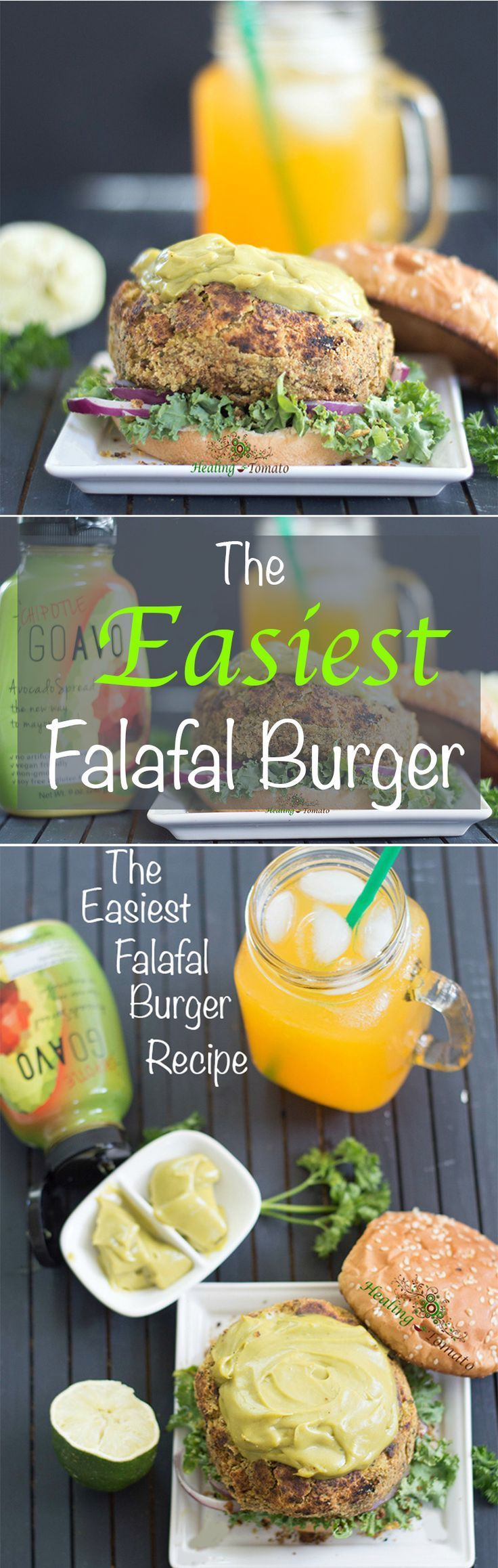 This falafal burger is the best veggie burger you will every eat. Made with chickpeas, parsley and flax seed meal. Takes only 30 minutes to make | Vegan burgers, comfort food, summer grilling, mediterranean burgers