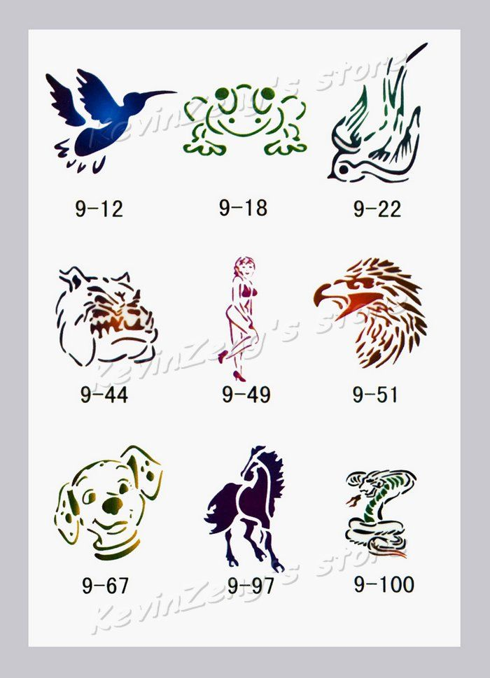 Temporary Airbrush Tattoo Stencils book Template Booklet 9 100 ...