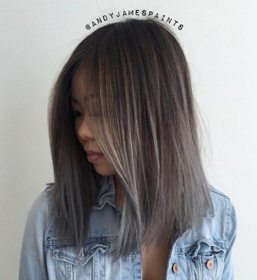 Asian lob hairstyle  Straight Blunt Lob This blunt bob is edgy and stylish at the same time, and it looks flattering on many different hair types. Grey hair is extremely on trend, and the cool tones may contrast well with warm complexions.