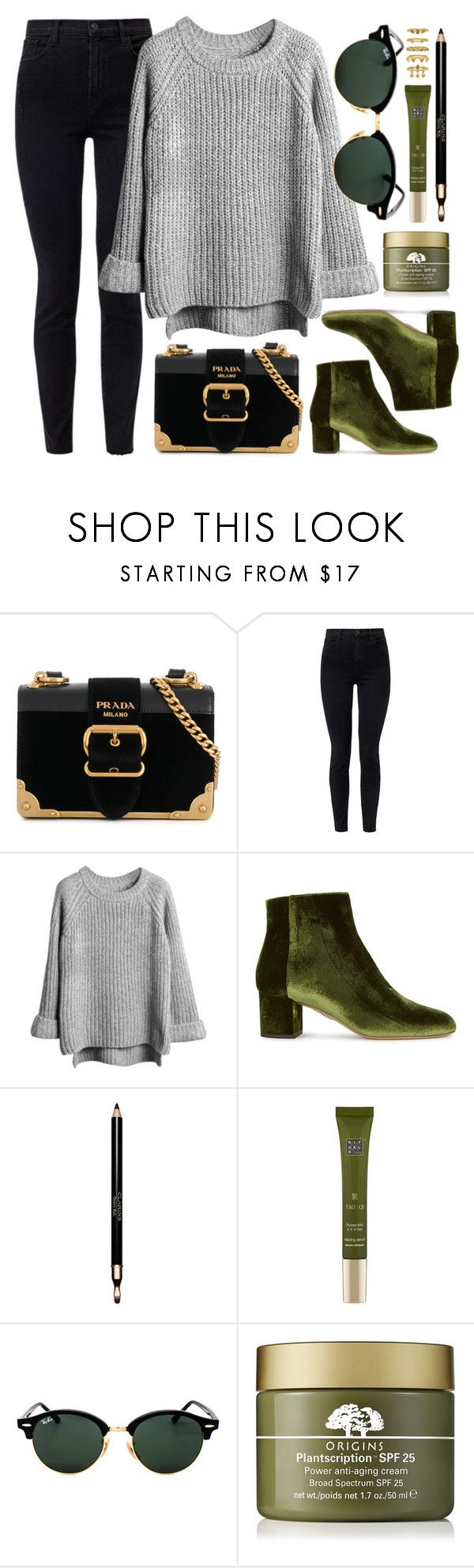 """Today's Look"" by smartbuyglasses-uk ❤ liked on Polyvore featuring Prada, J Brand, Aquazzura, Clarins, Rituals, Ray-Ban, Origins, Luv Aj and GREEN"