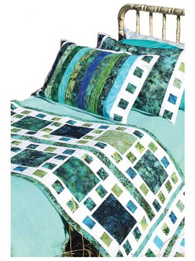 """Mosaique de Mer Bed Runner & Pillow Shams Pattern $9. Change your bed decor in a weekend! This beautiful bed runner and pillow sham set can be made using 5 fat quarters and 10 (or more) jelly roll strips. They look amazing when done in bali pops and batiks! Finished size of bed runner is 82"""" x 32"""". Pillow shams are 30"""" x 20""""."""