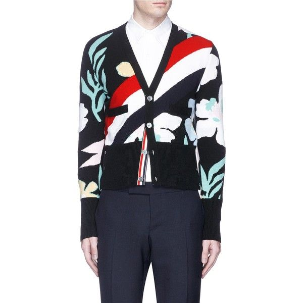 Thom Browne Floral stripe intarsia cashmere cardigan ($1,890) ❤ liked on Polyvore featuring men's fashion, men's clothing, men's sweaters, mens floral sweater, mens cashmere sweaters, mens cashmere cardigan sweater, mens cardigan sweater and mens striped sweater