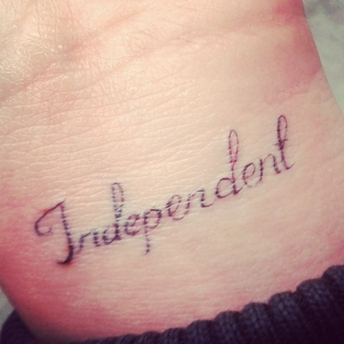 """Independent"" wrist tattoo - love the super thin line ..."