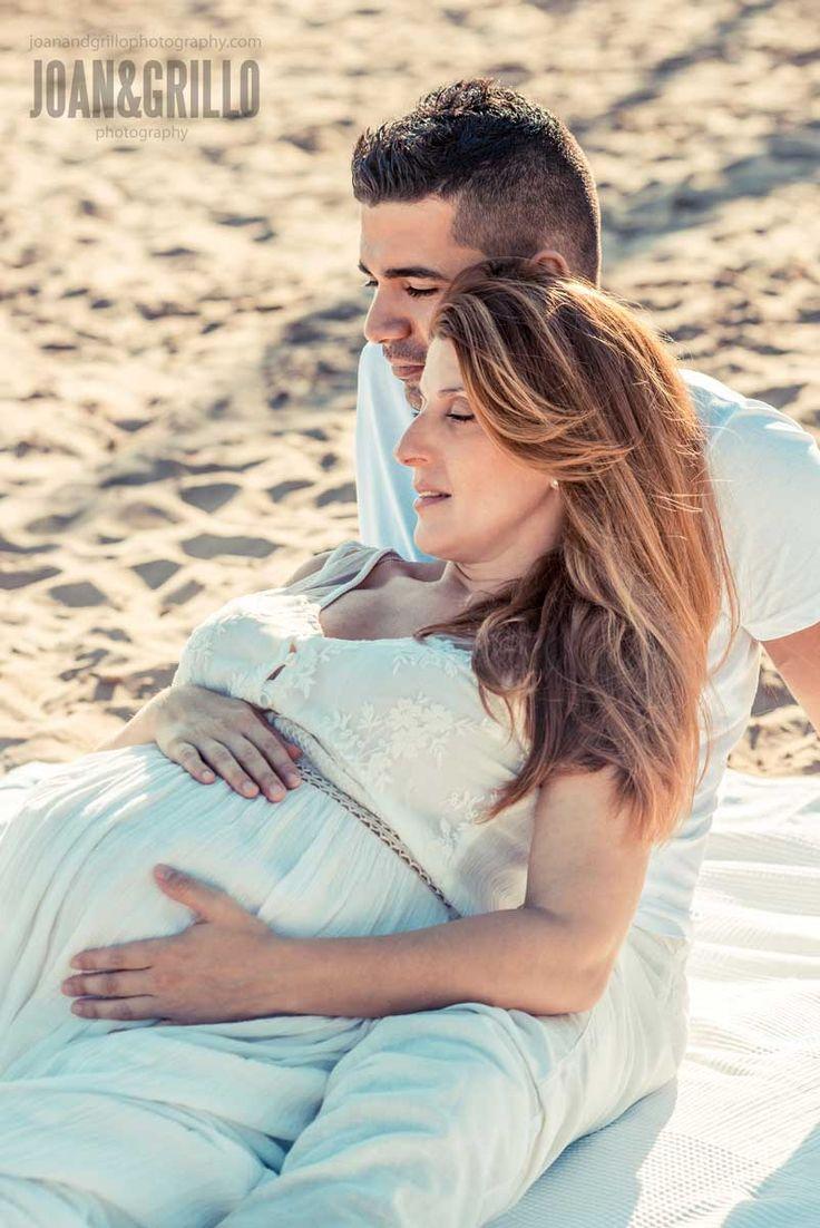 Presenting family shoot on beautiful beach near Barcelona.