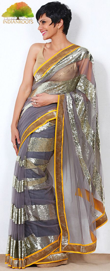 Grey Net Saree with Sequin Embellishments by Mandira Bedi at Indianroots.com #Shop #India