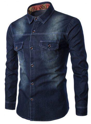 Da vuelta-abajo Bolsillos Diseño lejía de lavado de manga larga Camisa vaquera para los hombres