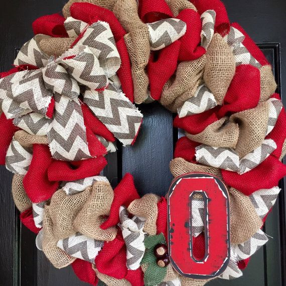Rustic Ohio State Burlap wreath by Trumpettes on Etsy