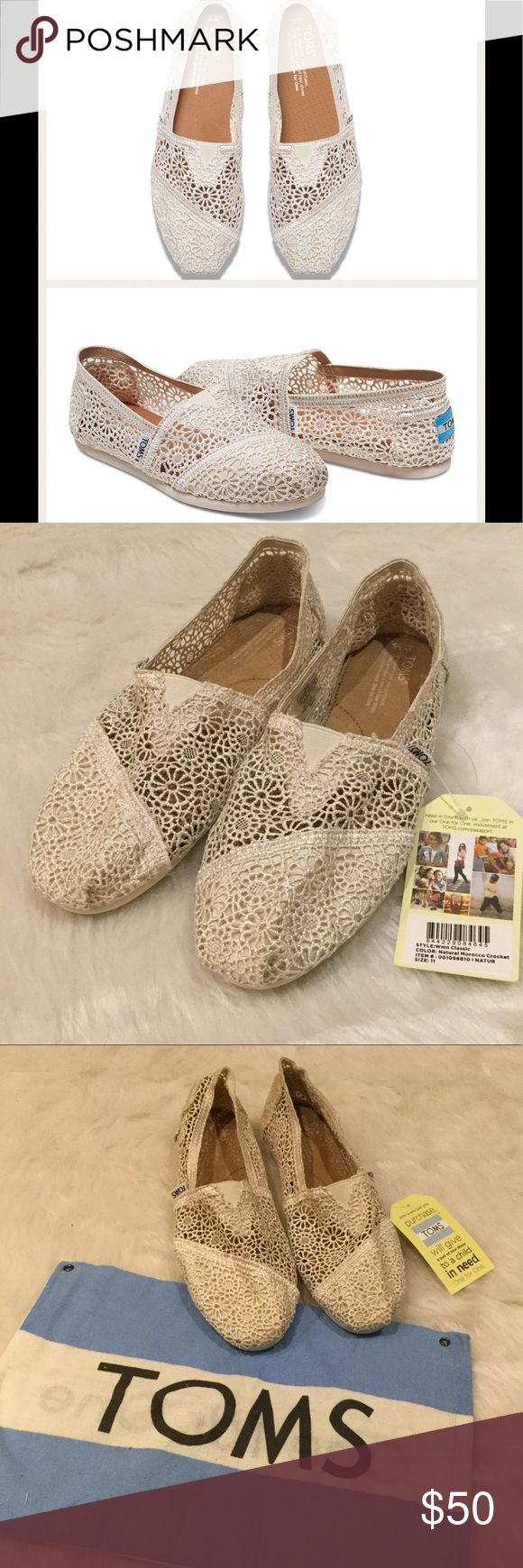 NWT TOMS Natural Moroccan Crochet Classics Stay light on your feet in these Classics!  Featuring a crocheted upper and more cushioning than ever.  Crocheted upper with TOMS toe-stitch.  Elastic gore for easy fit.  True to size.  NWT but do not have box.  Does come with TOMS garment bag. TOMS Shoes Flats & Loafers