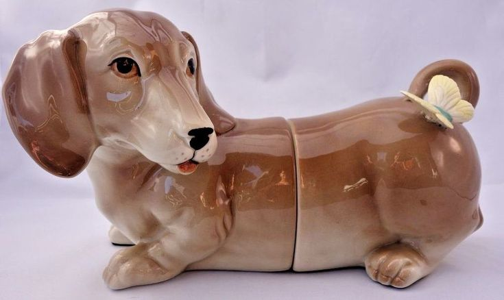 Fitz and Floyd Dachshund Bookends Porcelain Whimsical 1984