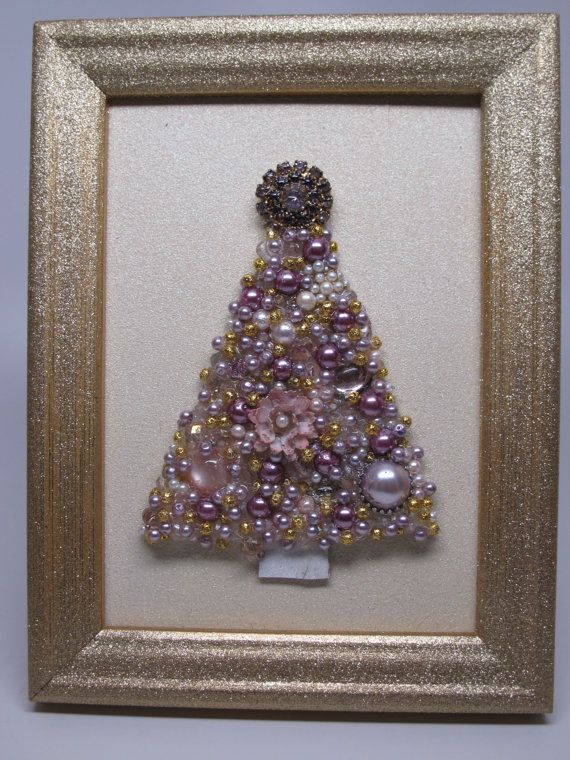 Framed Christmas tree. Hand-made with repurposed jewelry and beads.  https://www.etsy.com/shop/MarysMoon