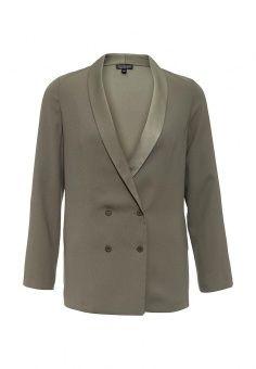 Пиджак Topshop, цвет: хаки. Артикул: TO029EWKDN02. Женская одежда / Пиджаки и костюмы
