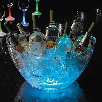 add glow sticks to clear plastic bowl filled with ice for chilling drinks at a party