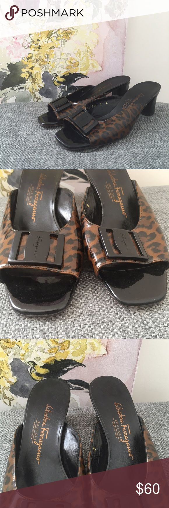 """Salvator Ferragamo Leopard Wedge Buckle Slip On In a beautiful patent leather print, these buckle slip on wedges are a beautiful shoe. The leather material is lovely. In great condition. 2.25"""" heel. 60116 Salvatore Ferragamo Shoes Heels"""