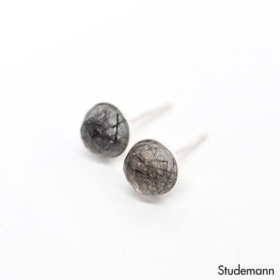Black Tourmalinated Quartz 925 Sterling Silver Ear by Studemann #Studemann #Rutilated #Quartz #Tourmalinated #Black #Men #Women #Unisex #Accessories #Jewelry #Jewellry #Etsy #Handcrafted #Earrings #Studs #Earstuds