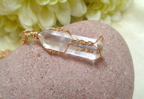Gold Wire-Wrapped Clear Quartz Necklace Crystal Necklace