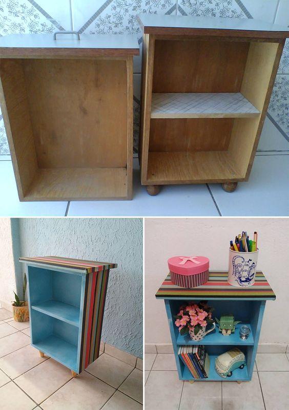 Mais um projetinho lindo e inspirador da nossa leitora Eliane Peixoto! Dessa vez ela transformou uma gaveta velha em uma mesinha de cabeceira linda e colorida! Amei!: