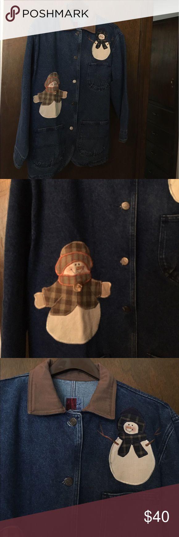 Denim Jacket for a Winter Walk Heavy unlined denim with snow family accents. Sun Belt Denim Jackets & Coats Jean Jackets