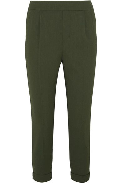 Vince's army-green pants will seamlessly slot into your work or off-duty wardrobe. Made from washed crepe with a touch of stretch, this pair has an elasticated waist and a tapered, cropped silhouette that's defined by front pleats and rolled cuffs. Wear them with a chunky sweater and slides.