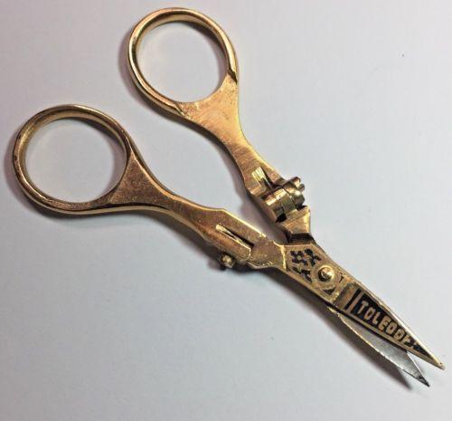 No-2013353-Vintage-Toledo-Gold-Handled-Damascene-Scissors-in-Original-Pouch