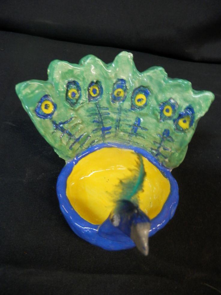 Ceramic peacocks. Grade 3 and 4
