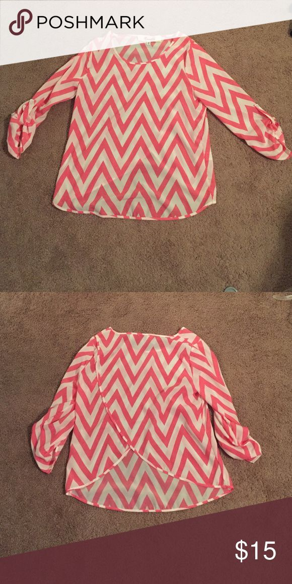 Pink chevron shirt Pink chevron shirt. The back is slit and shorter than then front. Quarter inch sleeves. Tops Blouses