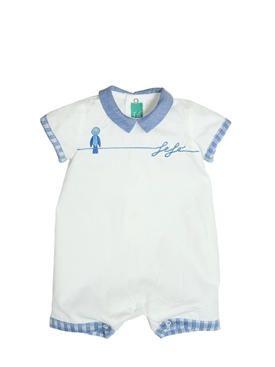 fefè - bambini-neonato - tutine - tutina in popeline di cotone con ricami