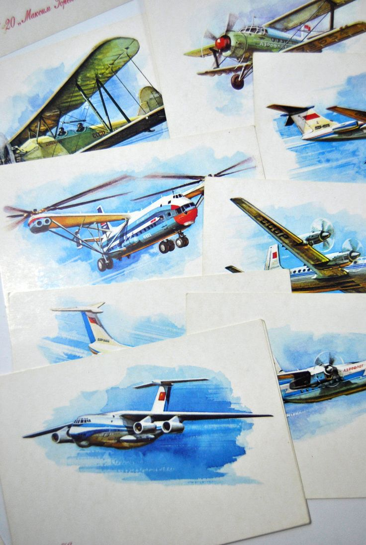 Aeroflot 1923-1973 post cards. Set of 14 soviet cards. Rare Cards USSR by VintageParsel on Etsy