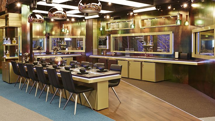 It's almost time! BB15 launches tonight and here's another peek into the Timebomb themed house. Our gold FLY lights from @kartelldesign and Jacob Jensen kettles are looking glamorous in the kitchen area. Let us know what else you spy that's supplied by us on tonights programme? #BB15