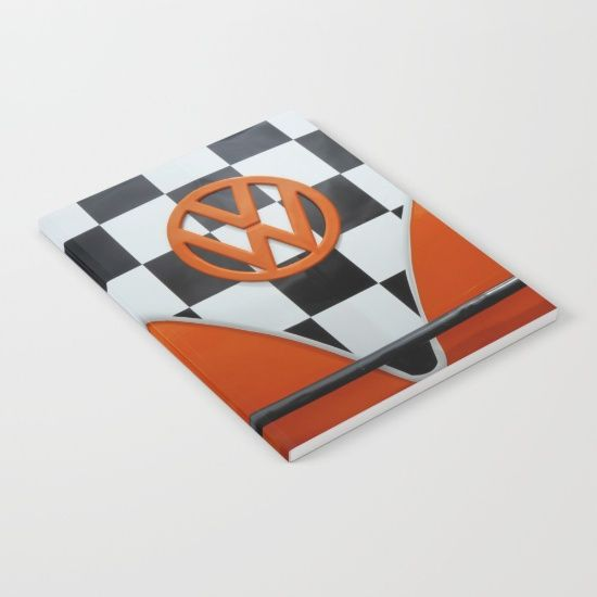 VW Checkers Notebook - #Society6 #VW #Volkswagen #CamperVan #Camper #VWBus #orange #notepad #notebook #stationery