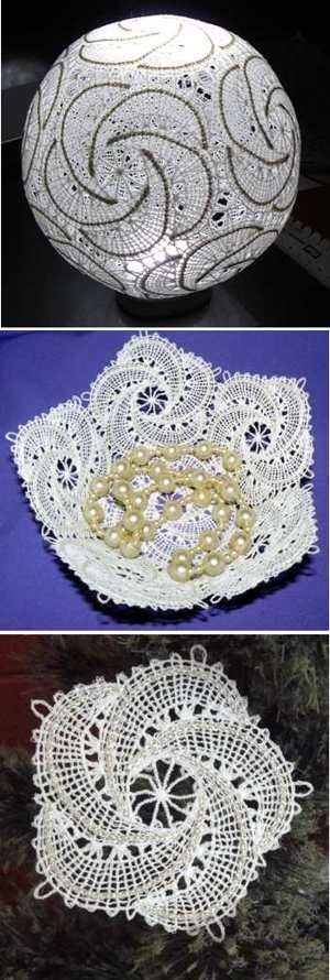 Advanced Embroidery Designs - Freestanding Battenberg Lace Snowflake Christmas Tree Ornament Set