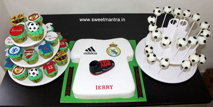 Football theme dessert/sugar table with Football T-shirt shaped cake, football cupcakes, football cake pops for boy's birthday at Pune