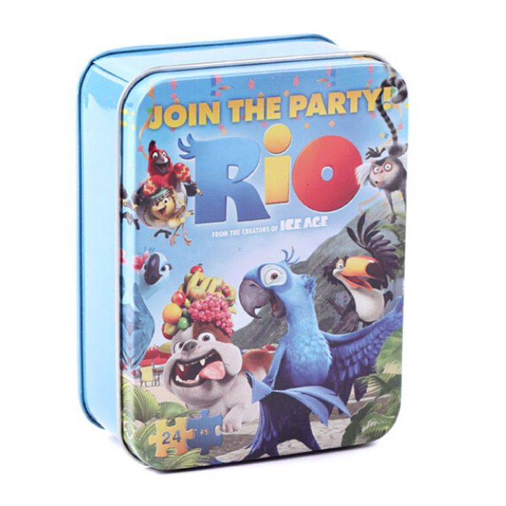 24 Pcs/set Cartoon Tin Box Wooden Puzzle Toys For Children,Cute Early Education Kids Puzzle Toys For Educational Toys